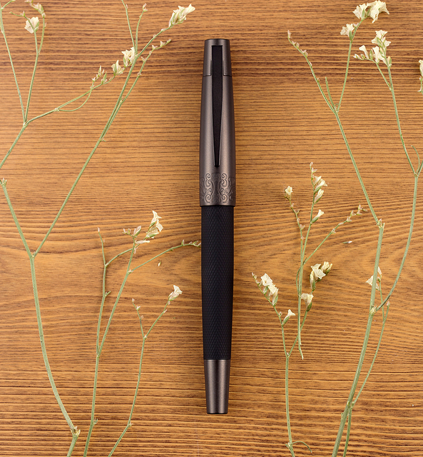 Hongdian 6013 Black Metal Fountain Pen Titanium Black EF/F/Bent Nib Gun-black Pen Cap Clip Excellent Business Office Gift Pen 5