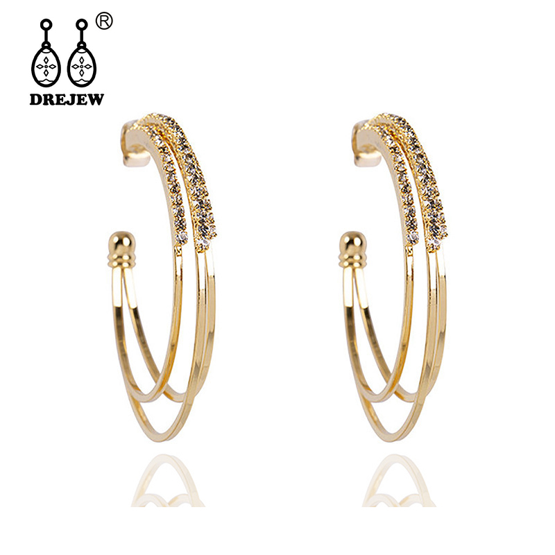 DREJEW Gold Silver Rose Circle Statement Earrings 2019 Fashion 925 Rhinestone Hoop Sets for Women Jewelry HE713