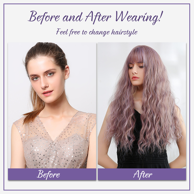 Element Synthetic Long Water Wave Purple Wigs with Bangs Heat Resistant American Lolita Cosplay Party Wig for White/Black Women