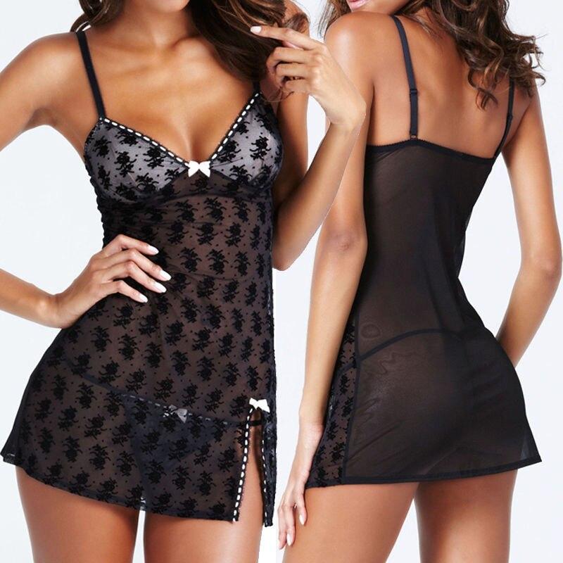 Porno Sexy Lingerie Women Sleepwear See Through Lace Mini Dress Robe Babydoll Night Wear Nightdress Nightgown Sleeping Dress