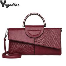 Women PU Leather Handbag Fashion Crocodile Pattern Small Shoulder Bag Ladies Messenger Bags Crossbody Envelope Purse Poch Femme