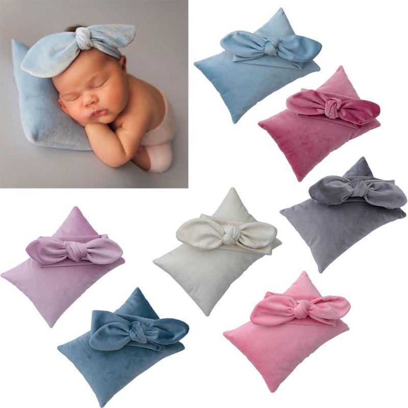2Pcs/Set Newborn Photography Prop Infant Headband +Pillow Set Studio Photo Shoot Q81A