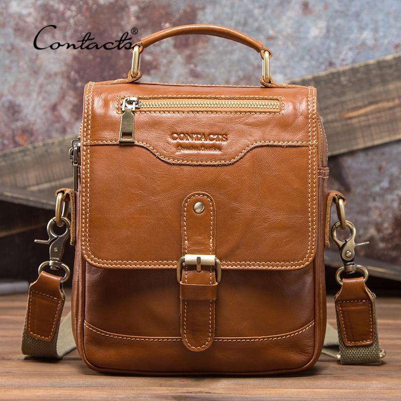 CONTACT'S 100% Genuine Leather Messenger Bags Men High Quality Handbag Bolsas Male Travel Crossbody Shoulder Bag For Ipad Mini