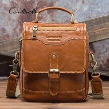CONTACTS 100% hakiki deri Messenger çanta erkekler yüksek kaliteli çanta Bolsas erkek seyahat Crossbody omuz çantası Ipad Mini