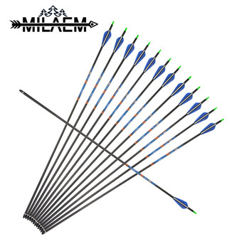 12 Pcs Archery Carbon Arrow Spine400 With 100 Grain Arrowheads 0.003  Straight For Traget Shooting Bow And Arrow Accessories