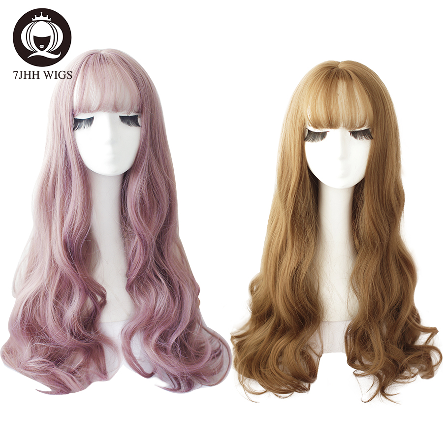 7JHH WIGS Long Omber Light Black Blonde Deep Wave Wigs With Bangs For Women Noble Fashion Brown Cosplay Lolita Wig Wholesale
