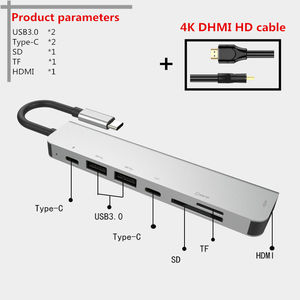 Image 3 - 7 in one TYPE C Docking Station PD USB Hub Multi Surface Carbon Laptop HDMI high speed port for Lenovo Samsung Dock Macbook Pro