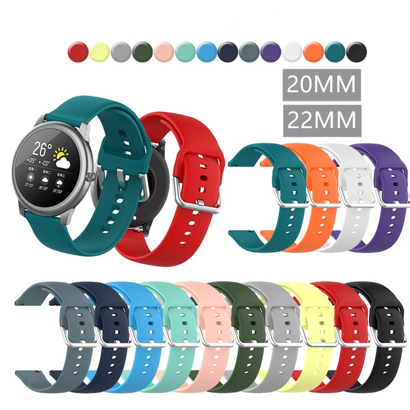 20mm 22mm Silicone Band for Samsung Galaxy Watch 42mm Active 2 40 44mm Gear S2 Soft Sport Watchband Strap for Huami Amazfit 2