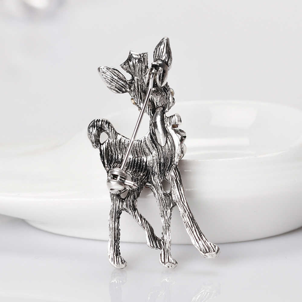بسيطة الرجعية الكريستال الغزلان بروش دبابيس للنساء الرجال دعوى الحيوان طوق دبوس الرجعية مجوهرات هدية الكريسماس
