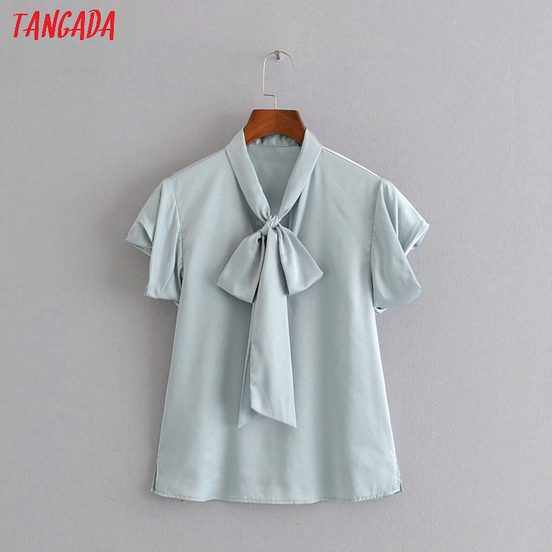 Tangada women bow tie neck blouse 2019 new arrival solid ruffled sweet short sleeve shirts female elegant tops 3H298