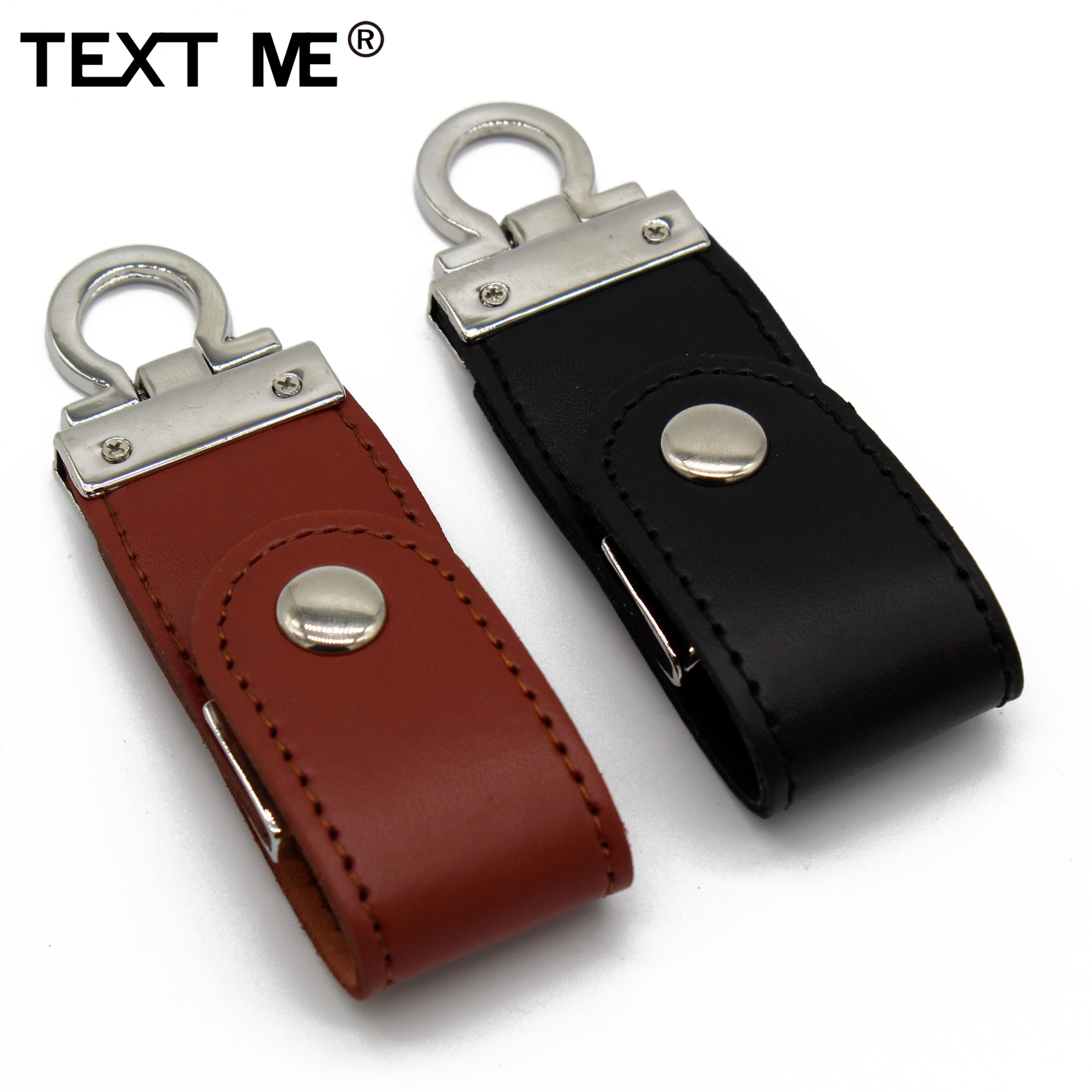 TEXT ME Pendrive Brown Black  Leather With Key Chain Style Usb Flash Drive Usb 2.0 4GB 8GB 16GB 32GB 64GB  Usb Stick