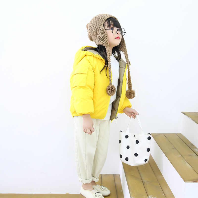 ילדי מעיל הלבשה עליונה ילד ילדה סתיו חם למטה סלעית מעיל בגיל ההתבגרות ילדי דובון חורף מעיל גודל 2-13 שנים