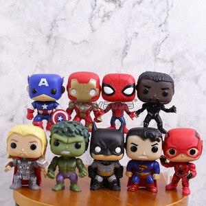 Marvel DC Super Heroes Figure Toys 9pcs/set Captain America Iron Man Spiderman Black Panther Thor Batman Superman Big Head Dolls