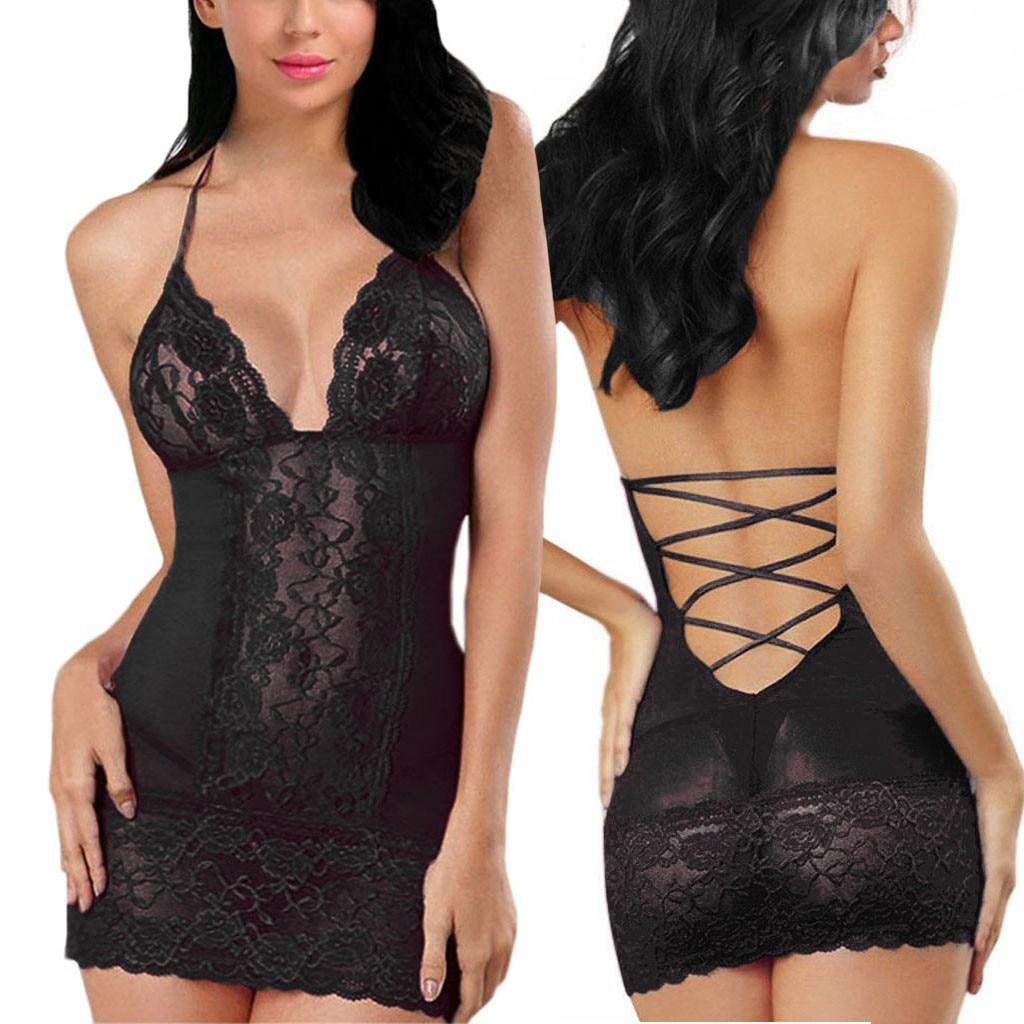Sexy Lace Nightdress Women Camisole Backless Thong Sleepwear Sets Feminina Plus Size S-3XL Nightie Erotic Sexy Lingerie Homewear