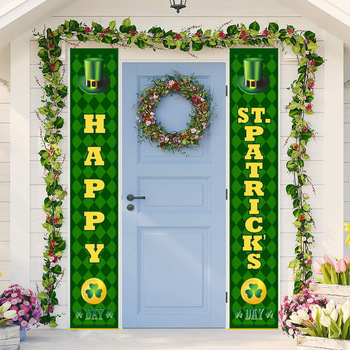 Saint Patrick's Day Door Curtain Saint Patrick Shamrock Banner Custom Irish Couplet Flag 1