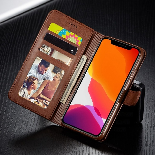 Leather Wallet Case for iPhone 12 Pro Max Mini 11 XS XR X SE 2020 8 7 6 6s Plus 5S 5 Luxury Flip Cover Coque Card Slots Magnetic 2