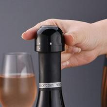 Newest Silicone Sealed Champagne Stopper Wine Bottle Stopper Sealed Mini Food-Grade ABS Sparkling Wine Champagne Bottle Stopper cheap CN(Origin) Plastic Eco-Friendly Cork Wine Stoppers CE EU 5-10cm 4*4*3 2cm black ABS+food grade silica gel Support Wholesale