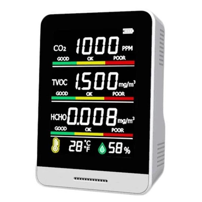 Портативный Измеритель CO2 5 в 1, цифровой датчик температуры и влажности, тестер, монитор качества воздуха, детектор TVOC и формальдегида углек...