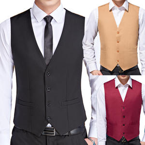 Vests Waistcoat Wedding-Suit Business Formal Black Male Casual Jacket Mens Sleeveless