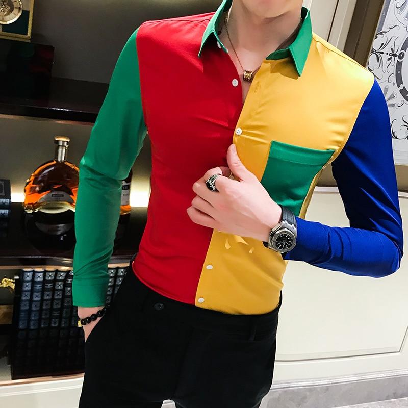 Sharp Contrast Multi Color Shirt Long Sleeve Hit Color Split Joint Patwork Shirt Club Prom Slim Fit Chemise Homme Manche Longue