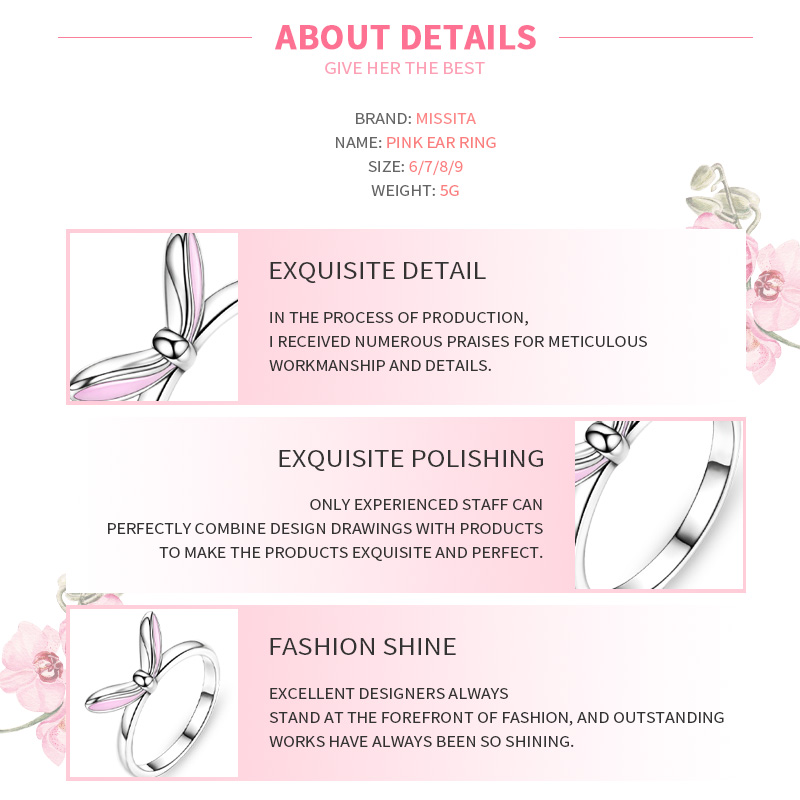 MISSITA 925 Sterling Silver Lovely Rabbit Pink Ear Rings For Women Wedding Anniversary Gift Silver Ring Brand Jewelry in Rings from Jewelry Accessories