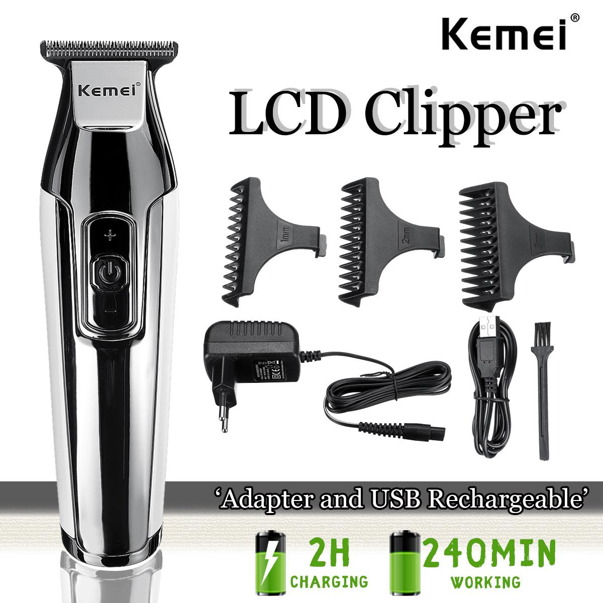 Kemei Professional Hair Clipper LCD Display Rechargeable Baldheaded Beard Hair Trimmer Men DIY Cutter Electric Haircut Machine