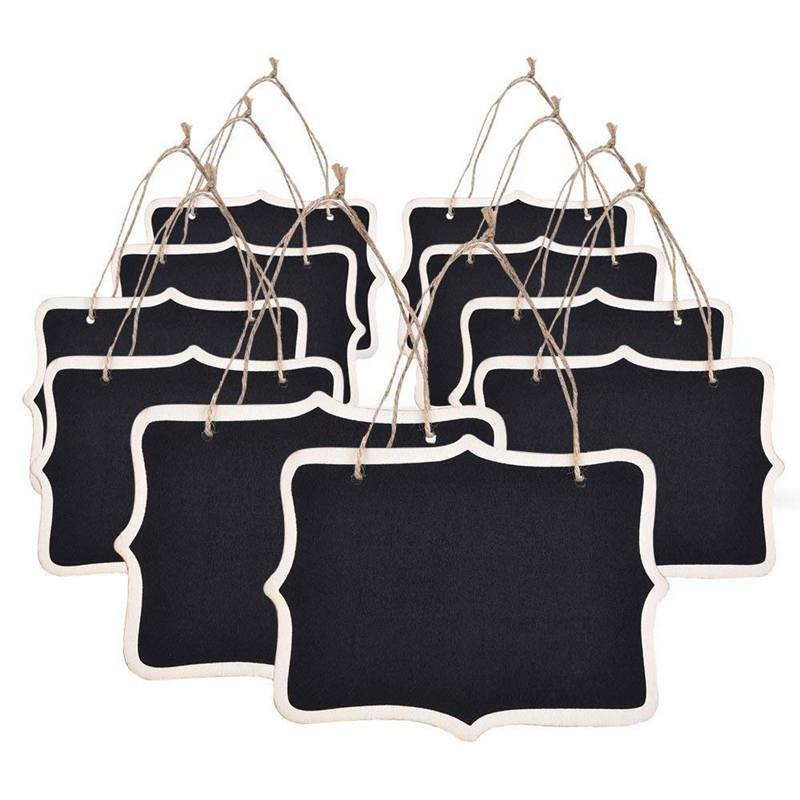 10pcs Mini Chalkboards Signs Hanging Blackboard Rectangle Message Board Double Sided For Weddings, Kids Crafts, Garden Favors St