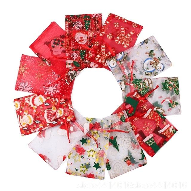 100 adet 10X15 13X18cm Renkli kırmızı beyaz Noel organze çanta Gazlı Bez Eleman takı çantaları Ambalaj drawable Organze hediye keseleri 55