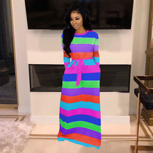Women Cute Rainbow Striped Maxi Dress 2019 Autumn Plus Size O-Neck Long Sleeve With Belt Loose Casual Dress Female Elegant цена 2017