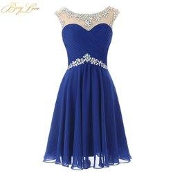 Короткое голубое шифоновое платье для выпускного вечера 2020 мини-платье с вырезом-замочком и бисером на талии бальное платье большого разме...