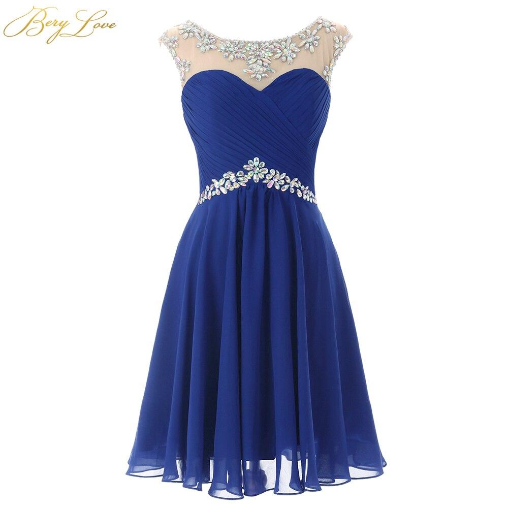 Short Blue Chiffon Homecoming Dress 2020 Keyhole Mini Beaded Neck Waist Homecoming Gown Plus Size Short Prom Graduation Dress