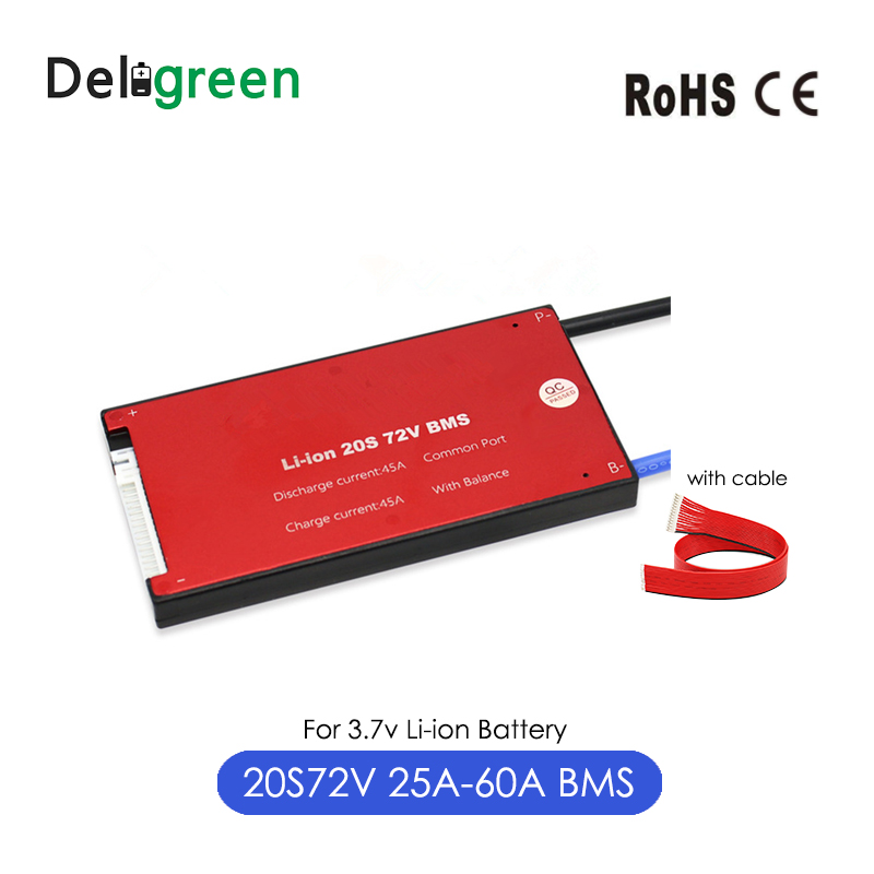Deligreen 20S 25A 35A 45A 60A 72V PCM/PCB/BMS For 3.7V Lithium Battery 18650 Lithion LiNCM Battery Pack Ebike