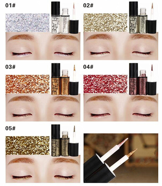 Professional 5 Colors Glitter Liquid Eyeliner Easy to Wear Waterproof Pigments Shimmer Party Make Up Liquid Shining eye liner 1