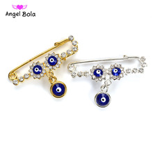 Islam Mothers Baby Turkish Evil Eye Crystal Charms Brooch Pin Women Men Muslim Jewelry Gold Crystal Buckle Clips