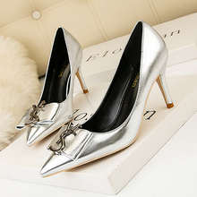 Patent Leather Pumps Women Shoes Size34-41 Summer Sexy Shallow Office High Heels Height 7CM Pointed Toe Slip-On Ladies Shoes dijigirls recommend sheep skin summer women pumps patterns leather mixed color metal high heels pointed toe shallow shoes