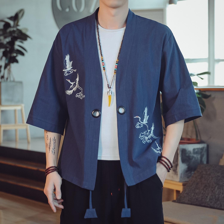 #3916 Spring Summer Vintage Chinese Style Jackets Men Embroidery Thin Kimono Jacket Cardigan Retro Kimono Outerwear Coat Loose