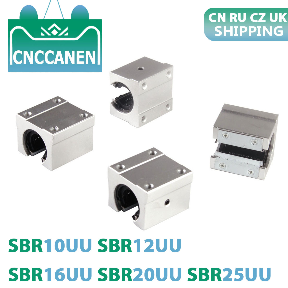 4PCS/LOT SBR10UU SBR12UU SBR16UU SBR20UU SBR25UU 12mm 16mm 20mm Linear Ball Bearing Block For CNC Router SBR Linear Guide Rail