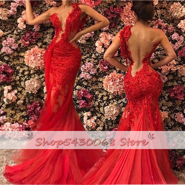 2021 Red Sheer See Through Backless Mermaid Prom Dresses Plus Size Lace Tulle One Shoulder Evening Gowns Sexy robe de soiree 4