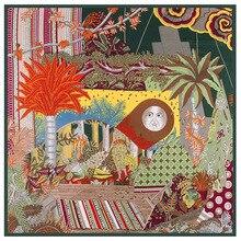 130cm * 130cm de alta qualidade grandes cachecóis quadrados xales, marca luxo h floresta impressão sarja lenço seda para mulher bandana