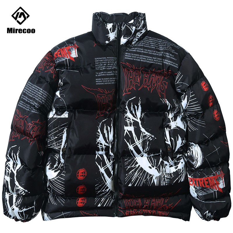 Parka Down Jacket  Japanese Cartoon Graffiti Print Men Winter Padded Jacket Windbreaker Streetwear Harajuku Coat Hip Hop Outwear