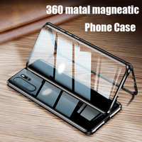 Custodia in vetro magnetico a doppio lato in metallo per Huawei P30 P20 P40 Mate 40 30 20 Pro Honor 20 Lite 8X 9X Y9 Prime P Smart 2019 Cover
