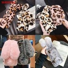 3D uszy królika futro pluszowe etui do Samsung Galaxy A51 A71 S10 uwaga 10 Lite A01 A21 M10S M20S A81 A91 M60S M80S diament ciepłe przypadku