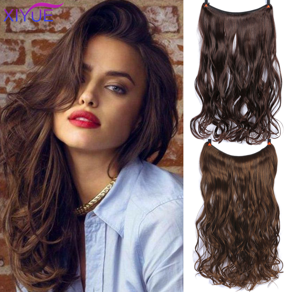 Invisible Wire No Clips In Hair Extensions Secret Fish Line False Hairpieces Synthetic Straight Wavy Hair Extensions