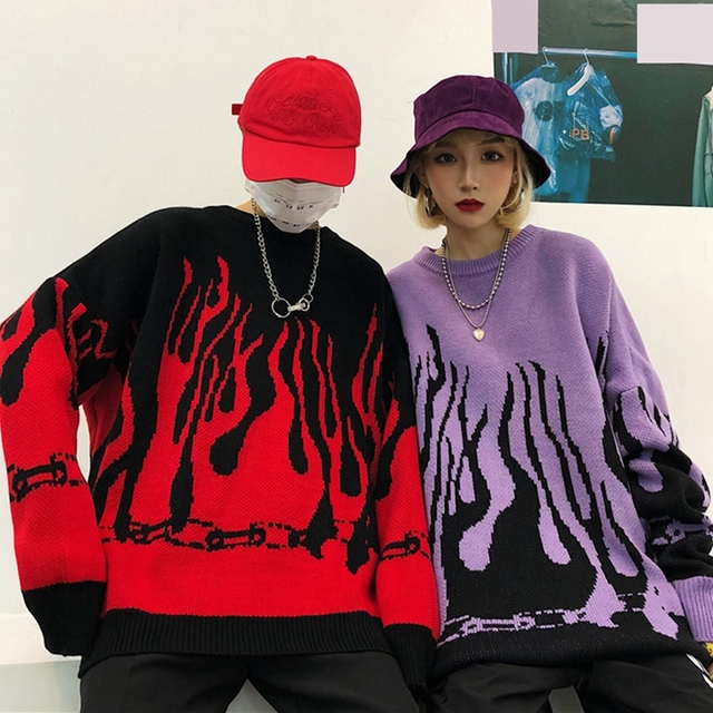 Autumn Winter Harajuku Flame Knit Batwing Sleeve Sweater Casual Long Women Trendy Print Pullover Loose Boyfriend Sweater 1