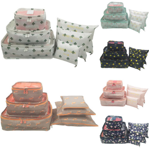 6Pcs Travel Storage Bag Waterproof Clothes Packing Cube Luggage Organizer Set