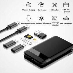 LED Light uniwersalny do przechowywania przenośne typu C Adapter na kartę podróży wielofunkcyjne złącze kabel do transmisji danych inteligentne ładowanie elektroniki