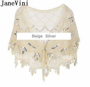 Image 5 - JaneVini Elegant แชมเปญทอง Bolero เลื่อมยักไหล่เสื้อสเวตเตอร์ถักผู้หญิงงานแต่งงานเสื้อ Cape Beaded Bridal Wrap Etole Femme Mariage