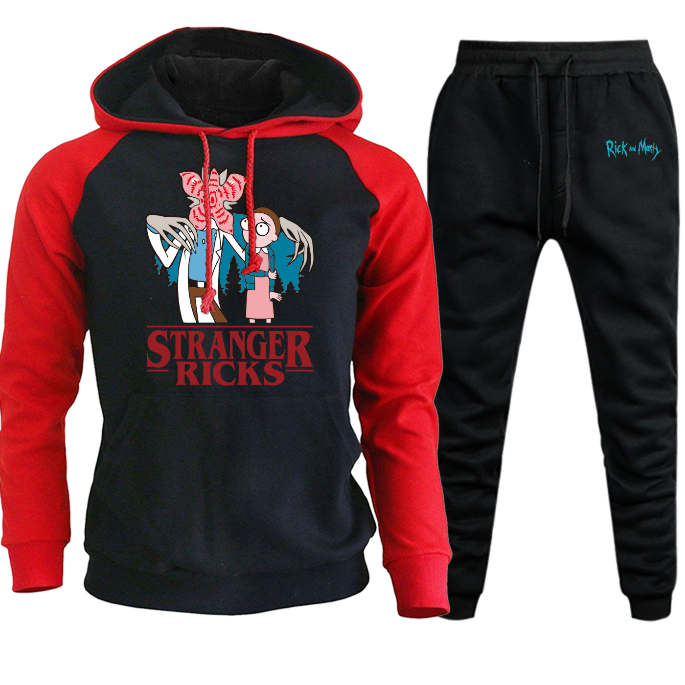 Stranger Things Rick And Morty Autumn Winter 2019 Mens Fashion Hooded Raglan Streetwear Casual Suit Pullover+Pants 2 Piece Set