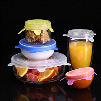 Food Silicone Cover Universal Silicone Lids For Cookware Bowl Pot Reusable Stretch Lids Kitchen Accessories 1-6 pcs