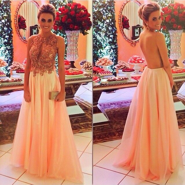 Sexy Backless Vestido De Festa Scoop Neck Key Hole Front Chiffon Floor Length Evening Gown 2018 Mother Of The Bride Dresses
